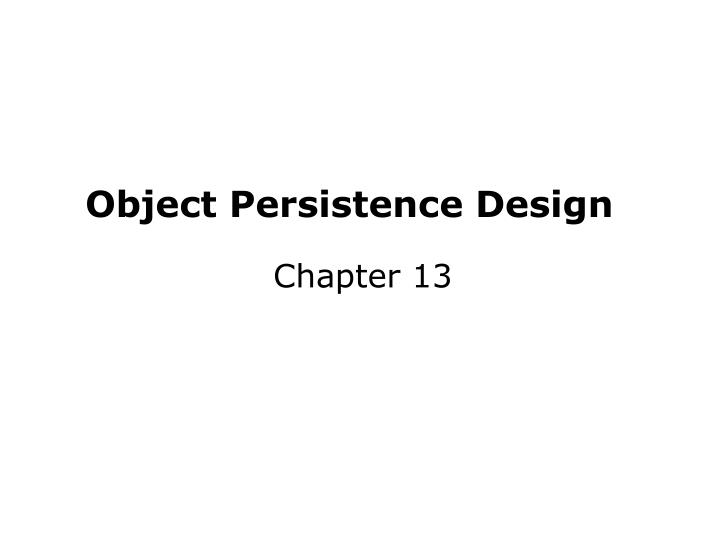 object persistence design n.