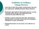 guidelines in guiding a change process
