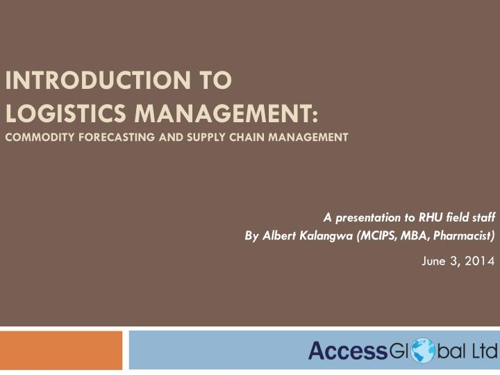 introduction to logistics management commodity forecasting and supply chain management n.