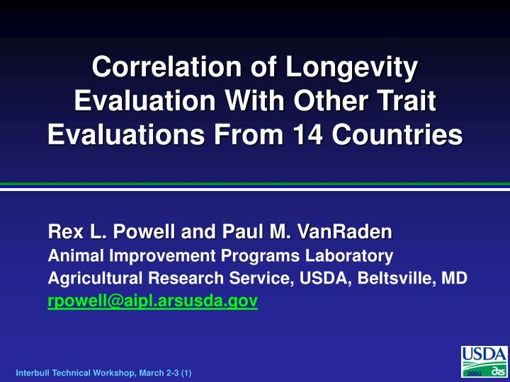 correlation of longevity evaluation with other trait evaluations from 14 countries n.