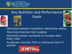 key nutrition and performance goals