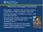 maximize glycogen synthesis