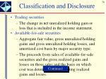 classification and disclosure