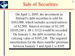 sale of securities