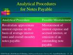 analytical procedures for notes payable