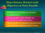 major balance related audit objectives in notes payable