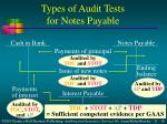 types of audit tests for notes payable
