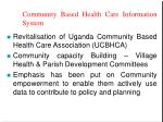 community based health care information system