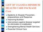 list of uganda minimum health care package cont