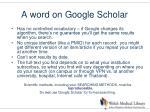 a word on google scholar