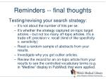 reminders final thoughts