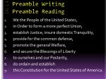 preamble writing preamble reading