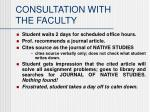 consultation with the faculty