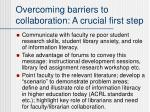 overcoming barriers to collaboration a crucial first step