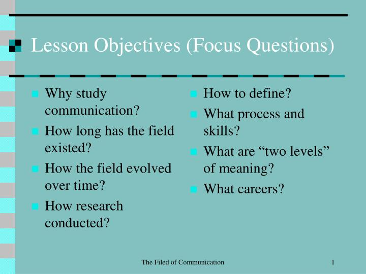 lesson objectives focus questions n.