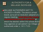 authority for a millage increase1