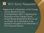 bcc action requested
