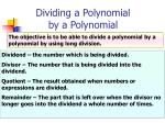 dividing a polynomial by a polynomial