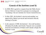 genesis of the institute cont d