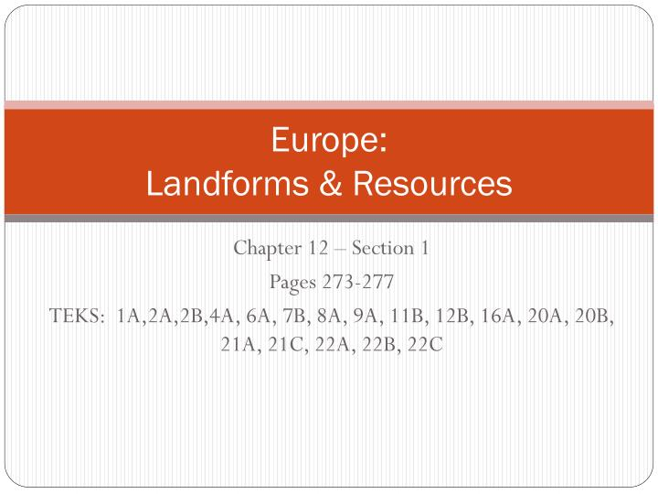 europe landforms resources n.