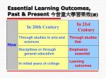 essential learning outcomes past present