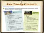 some traveling experiences