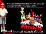 congratulations to rick mcginnis for taking on management of the harrisburg office