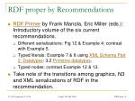 rdf proper by recommendations