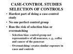 case control studies selection of controls