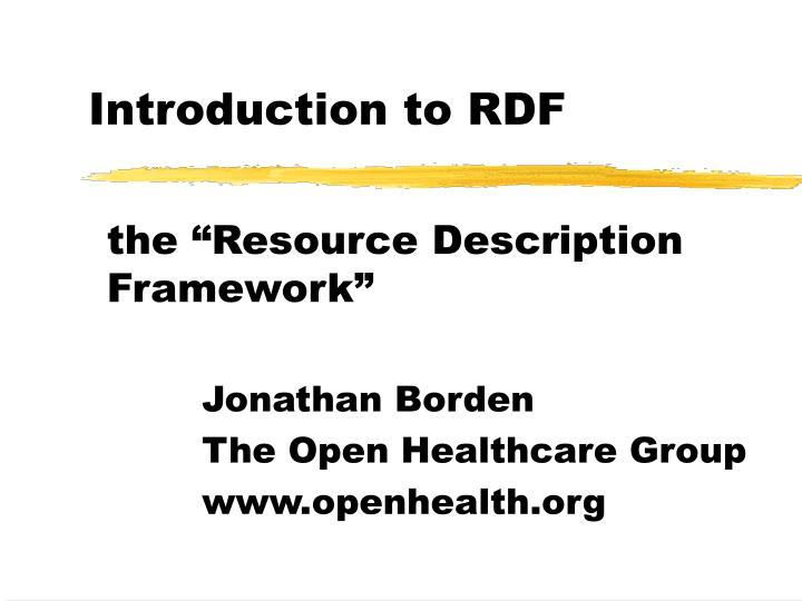 introduction to rdf n.