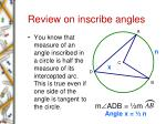 review on inscribe angles
