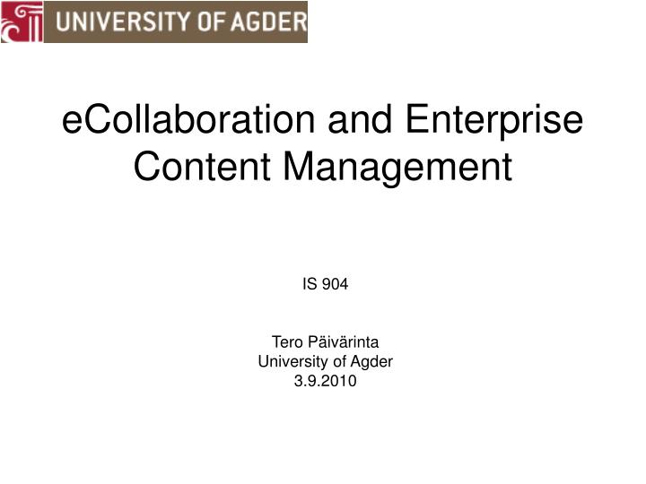 ecollaboration and enterprise content management n.