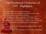 the northwest ordinance of 1787 highlights