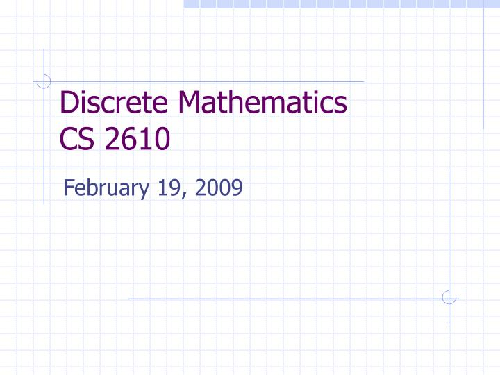 discrete mathematics cs 2610 n.