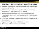 take away messages from morning session