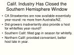 calif industry has closed the southern hemisphere window