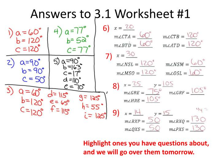 answers to 3 1 worksheet 1 n.