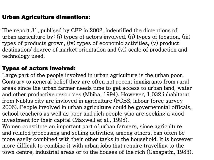 Urban Agriculture dimentions: