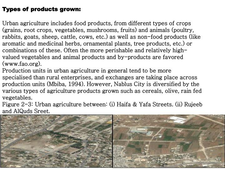Types of products grown: