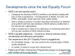 developments since the last equality forum