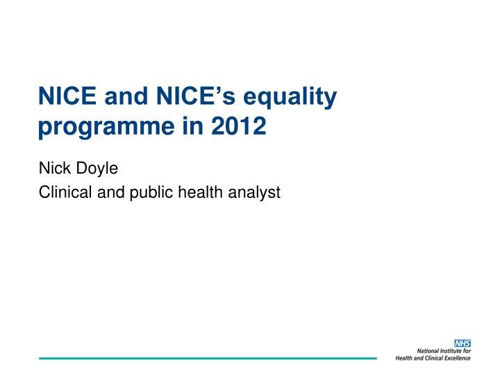 nice and nice s equality programme in 2012 n.