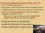 the 2nd continental congress may 10 1775