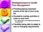 strategies ways to handle time management