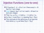 injective functions one to one
