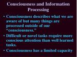 consciousness and information processing