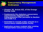 concurrency management ordinance