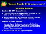 vested rights ordinance cont