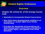 vested rights ordinance