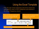 using the excel template2