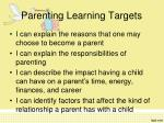 parenting learning targets
